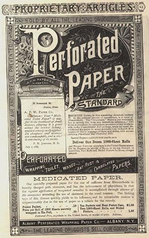 Publicidad papel higiénico perforado de la Albany Company